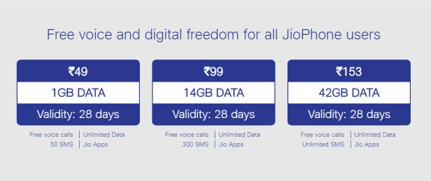 JioPhone recharge plans